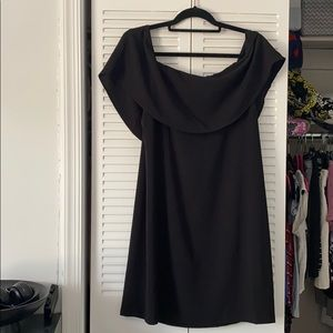 Off-the-shoulder black formal dress